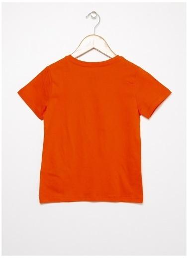 Limon Company Limon Turuncu Bisiklet Yaka Yazı Baskılı Erkek Çocuk T-Shirt Oranj